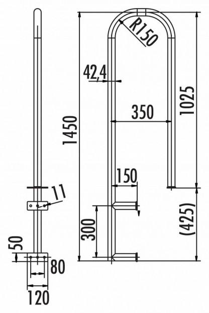 Übersteigbügel aus Edelstahl 1.4301 / AISI 304