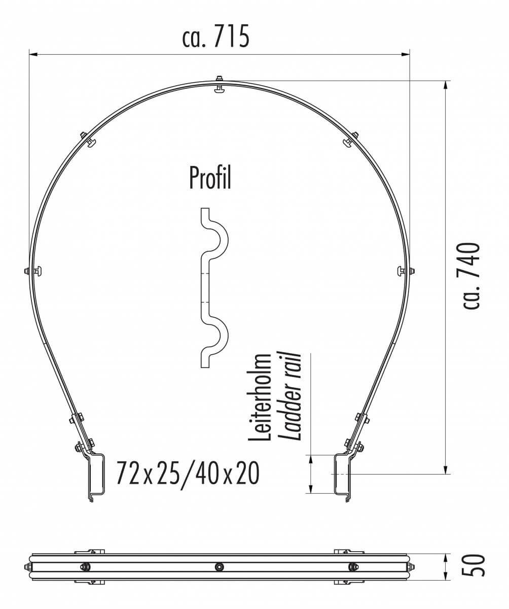 Rückenschutzbügel für Holm 40x20mm