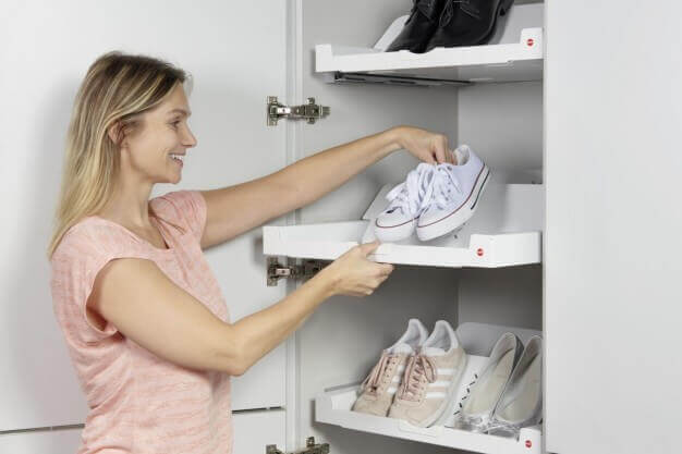 Set Shoe Rack + Universaltablar weiß