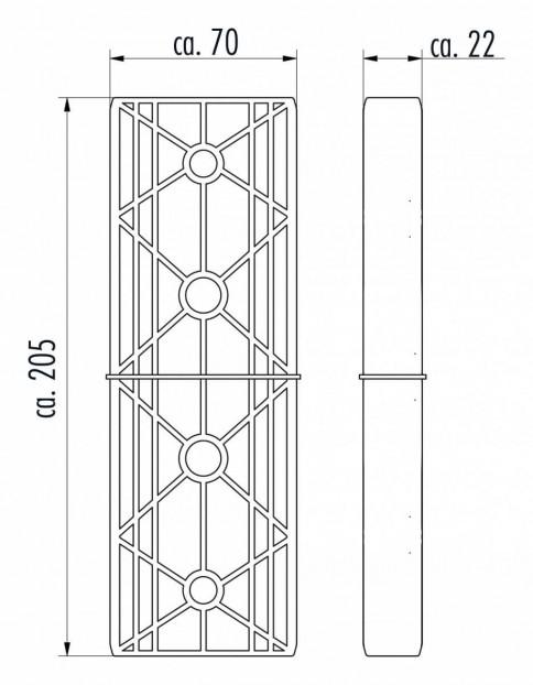 Leiterverbinder für Holm 72x25mm