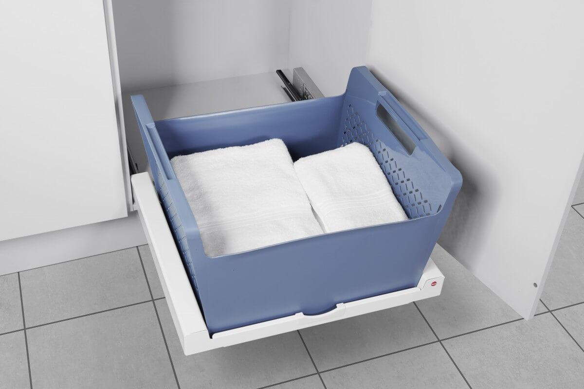 Set Universaltablar weiß + Wäschekorb blau