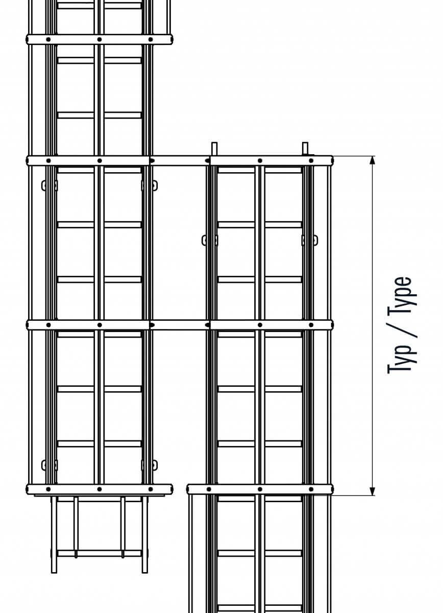 Umstiegseinheit für Holm 40x20mm
